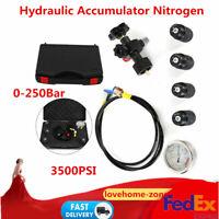Durable Hydraulic Accumulator Nitrogen Charging Fill Gas Valve Pressure Test SET