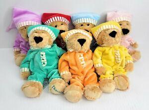 FAO Schwarz Sleepy Time Teddy Bears Plush Days Of The Week 10 Inch Set Of 7