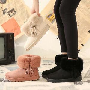 Fashion Rabbit Fur Snow Boot Cotton Shose Thick Bottom Flat Heel Warm Women Boot