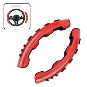 Pair Red Carbon Fiber Car Steering Wheel Booster Cover Trim Non-Slip Accessories