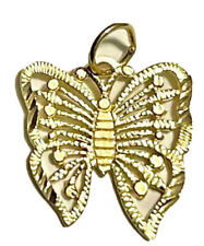 14k Yellow Gold Butterfly Charm Pendant