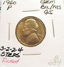 1960-P JEFFERSON NICKEL GEM BU, 3-2-2-4 STEPS RARE+, STRONG STRIKE, NICE+ B684