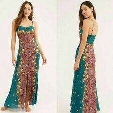 People Morning Song Jade Green Combo Long Button Front Maxi Dress M