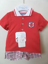 Baby Boys Mayoral Checked Shorts And Red Polo Shirt Summer Outfit Age 0-3 Months