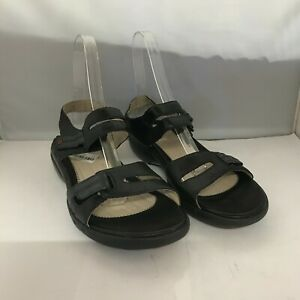 New Clarks Sandals Women's UK 8 Black Leather Strappy Outdoor Flat Shoes 181039