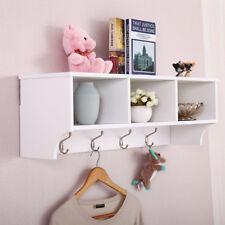 Wall Mount Coat Rack Storage Shelf Cubby Organizer Hooks Entryway Hallway White