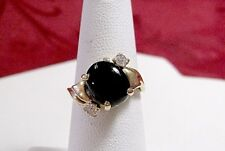 14K YELLOW GOLD OVAL BLACK ONYX & DIAMONDS LADY'S RING SIZE 5.25