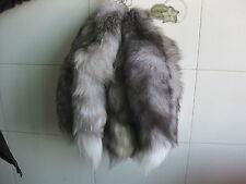 1pcs Genuine Silver Fox Tail Key Chain Fur Tassel Bag Tag Charm Keyring Jof03