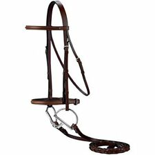 ENGLISH SADDLE PONY SIZE RAISED DARK BROWN LEATHER HORSE BRIDLE WITH LACED REINS