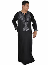 Moderner Herren-Kaftan Hauskleid, Farbe: schwarz / silber - KAM00318