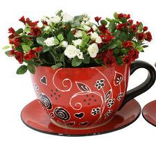 Red & Black Hand Painted Large Ceramic Tea Cup & Saucer  Pot Planter  34cm