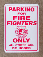 New Plastic Parking Only Sign Firefighters Fire Dept Rescue Firemen Red 911 B