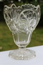 Clear Vase Art Glassware Date-Lined Glass
