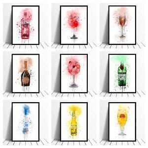 Alcohol Watercolour Quote Print Beer Gin Champagne Prosecco Martini Vodka Poster