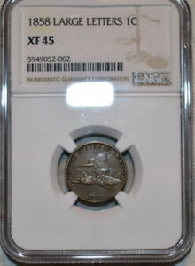 NGC XF-45 1858 Large Letters Flying Eagle Cent, Sharply struck, nearly AU piece.