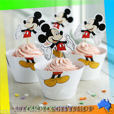 12 SET DISNEY MICKEY MOUSE 2 PIECE CUPCAKE WRAPPERS & TOPPERS PARTY SUPPLIES