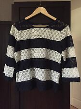 The Limited Lace Eyelet Blue And White Stripped Top Size M