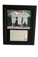 Display w/ Babe Ruth & Lou Gehrig Photo & w/ BGS  3x5  signed Carl Reynolds
