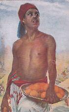RARE Stefano Ussi Orange-seller semi-nude moroccan man Italian antique postcard