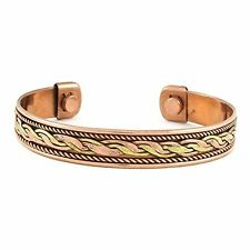 Pure Copper Magnetic Bracelet Arthritis Therapy Men Women Cuff and Matching Ring