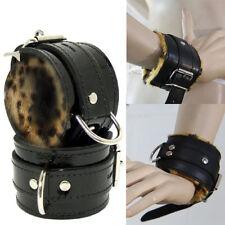 Pair Faux Leather Fur Lined Leopard Print Black Wrist Cuffs Goth Punk Bracelets