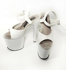 Pleaser Women's Shoes Platform 10 Exotic Pole Dancer Party White Strappy Padded