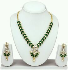 Designer Antique Gold Plated Diamond & kundan Necklace Earrings  Jewellery Set