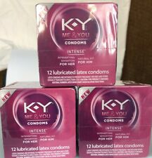 3 KY Me & You 12 Lubricated Latex Condoms Each. Exp: 03/2024