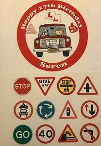 Personalised Learner Driver 17th birthday edible cake topper & road signs ribbon