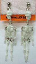 Halloween Skeleton Dangle Pierced Earrings With Moveable Body Parts NEW