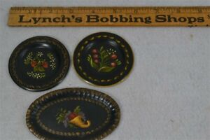 vtg tole toleware hand painted miniature doll house lot round oval 3 pc replica