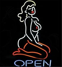 "Live Nude Open Sex Lady Neon Light Sign Display Beer Bar Pub Club 17""x14"""