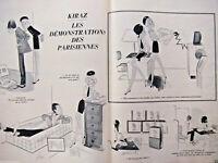 DESSIN DE PRESSE HUMORISTIQUE 1967 KIRAZ LES DÉMONSTRATION DES PARISIENNES