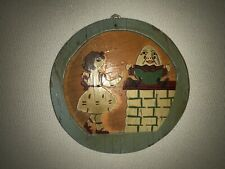 Vintage Handcrafted Wood Folk Art Flue Cover Humpty Dumpty
