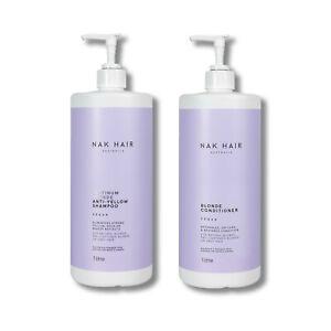 NAK Platinum Blonde Anti Yellow Shampoo & Blonde Conditioner 1000ml 1 Litre DUO
