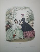 "La Mode Illustree Antique Fashion Print~ca 1862, No 325~14""x 11"""