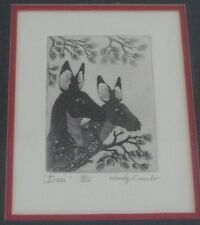 """Woody Crumbo Native Potowatomi limited edition signed """"Deer"""" small etching"""