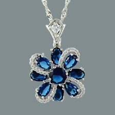 Gift Jewelry 18K White Gold Gp CZ Zirconia Crystal Blue Sapphire Flower Pendant