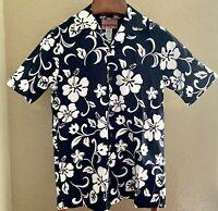 RJC Hawaiian Aloha Shirt Blue with White Hibiscus Flowers Mens Size S
