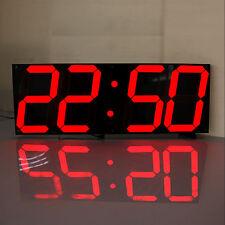 Large 3D Modern Digital LED Wall Clock 24/12 Hour Display Timer Alarm Home Red