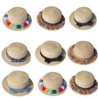 Fashion Parent-child Women Baby Girls Beach Bow Straw Flat Brim Sun Hat Cap