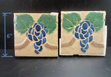 (2) Very Rare - Grueby Tiles - (4 Color) w/Blue Grapes - 6x6 - w/Makers Marks