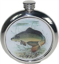 Pewter 6oz Round Hip Flask with Carp Picture Perfect gift for the Fisherman!