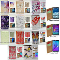 For Samsung Galaxy Note Series Butterflies Print Wallet Mobile Phone Csse Cover