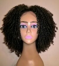 "12"" 7A Brazilian Natural Brown 130% Density Tight Curly Silk Top Lace Front Wig"