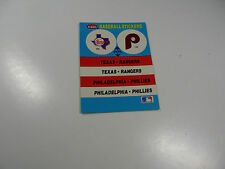 Fleer Baseball Rangers/Phillies Logo Sticker Montreal Expos logo on back