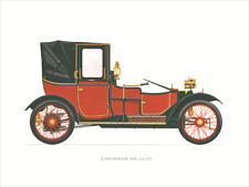 Canvas Print Vintage Car Poster Illustration - Lanchester 1908 20CV Vintage Car