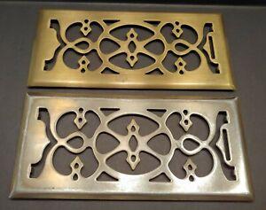 "2 Floor Register Covers Ornate 11.25"" x 5.25"" Grille GoldTone Heavy Metal Brass"