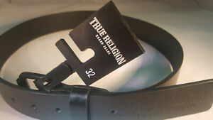 True Religion MEN WEST CLASSIC CASUAL BELT WITH ROLLER BUCKLE BLACK-SIZE 32 YES!