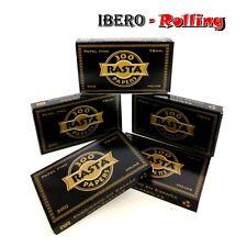 5 libritos papel de fumar RASTA negro 300, papel fino de 78mm, tamaño 1 1/4
